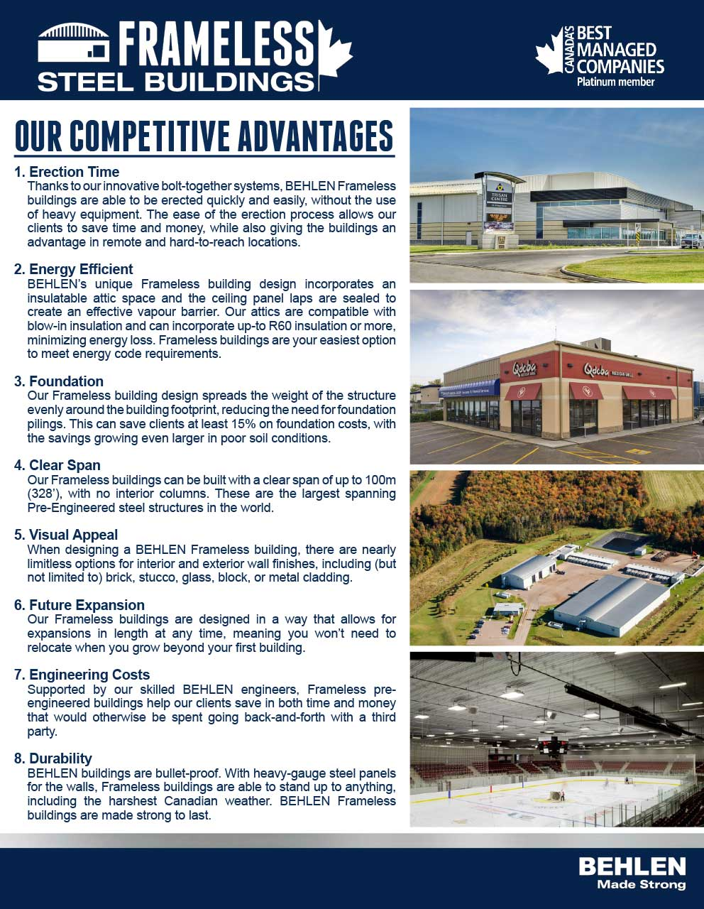 Behlen Industries - Frameless Competitive Advantages